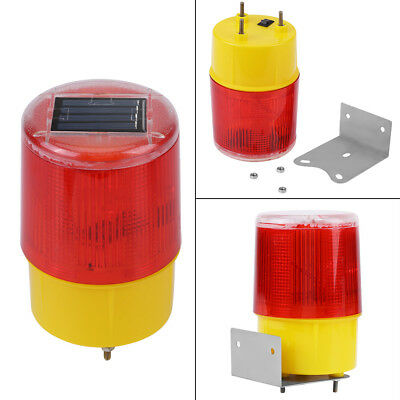 Solar LED Emergency Warning Flash Light Alarm Lamp Traffic Road Boat Red Light
