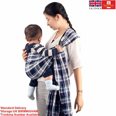 Cotton Baby Sling Stretchy Wrap Carrier Breast Feeding Newborn Birth in UK Stock