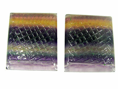 291.35 Ct Natural Fluorite Loose Carved Set of 2 Pieces Gemstone Stone - 11531