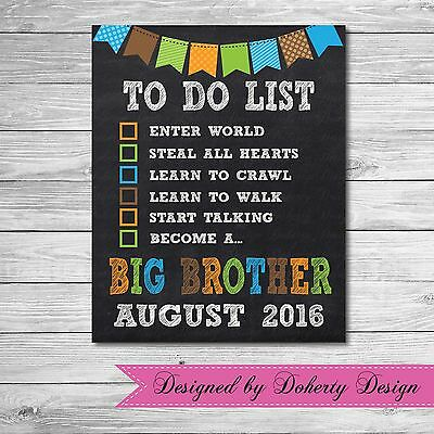 Chalkboard Pregnancy Announcement 'TO DO LIST' Print {BIG BROTHER}