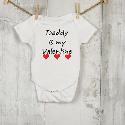 Daddy Is My Valentine  Cute Baby Vest All in One Valentines Day
