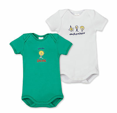 Schiesser Baby Bodysuit Proverbs Double Pack Size 68-104 Bodies Short Sleeve
