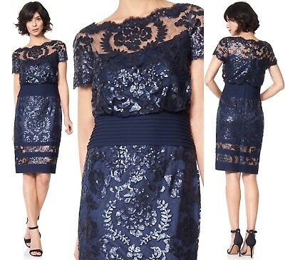 b1d4649b17c  348 TADASHI SHOJI Navy Sequin Lace Blouson Pintuck Illusion Dress ...