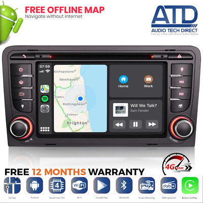 Android 8.0 Oreo DVD Radio DAB Bluetooth GPS Navigatore Satellitare Wifi Audio