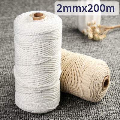 2mmx200m Natural Beige White Cotton Twisted Cord Rope Craft BOHO Macrame String