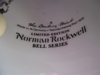 """Norman Rockwell 7"""" CHRISTMAS BELL """"The Discovery"""" LE Series 1976 Danbury Mint"""