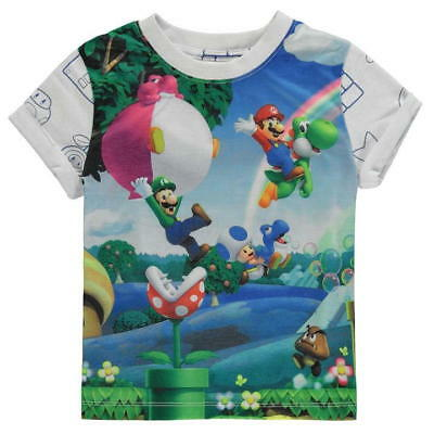 Boys Official Nintendo Super Mario Bros T-Shirt Top Ages 2 through to 13 BNWT