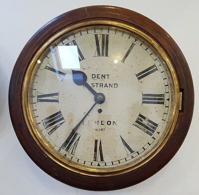 VERY RARE Mahogany Single Fusee 16 Inch Wall Clock by Edward J Dent