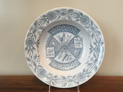 "J & M P Bell & Co COREA Aesthetic Transferware 10 ½"" Rim Soup Bowl, c.1870"