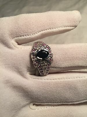 Vintage Genuine Blue Real White And Pink Sapphire 925 Sterling Silver Ring