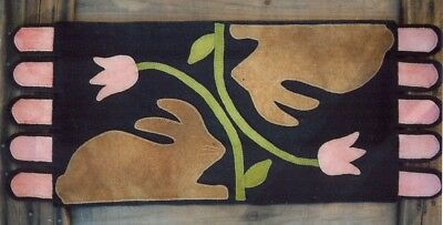 Wool Applique Pattern - Wool Bunnies And Tulips - Easter Spring Penny Rug