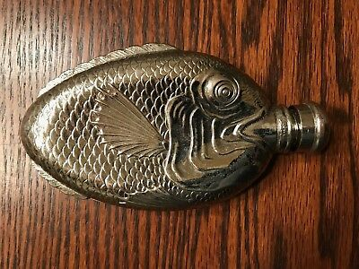 Vintage Detailed & Unusual Towle Silver Plated Fish Shaped Flask