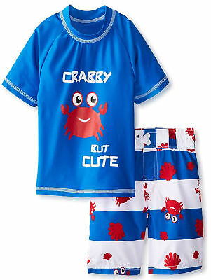 iXtreme Toddler Boys Cute Crabby Short Sleeve Rash Guard 2Pc Set Swim Trunk
