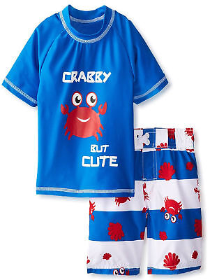iXtreme Toddler Boys Swim Crab Shirt Rashguard Short Set Strpie Board Swim Trunk