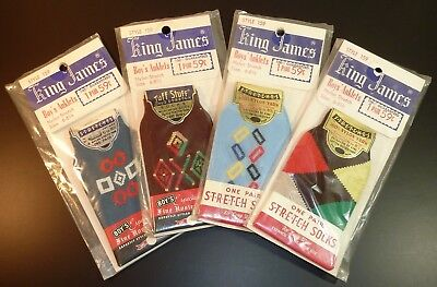 Vintage NOS 1950's Boys Anklets Atomic Rockabilly Dress Ankle Socks ~ 4 Pairs