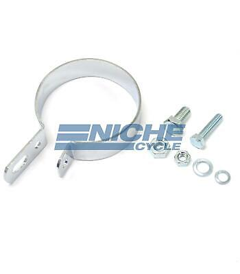 """Chrome 2.5"""" Muffler Center Clamp with Integrated Hanger Mount"""