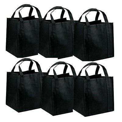 6pcs LARGE BLACK SHOPPING BAGS ECO FRIENDLY REUSABLE RECYCLABLE GIFT BAG Lots