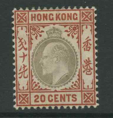 Hong Kong SG83 1904 20c slate and chestnut Mounted Mint