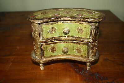 Vintage Florentine Italian Jewelry Wooden Box Gold Green Shabby Drawers Footed