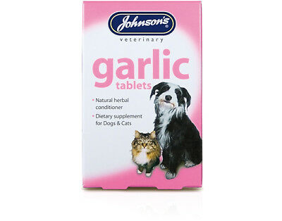 Johnsons 80 Garlic Tablets (2x40) For Dogs Cats Natural Herb Remedy Fleas Worms