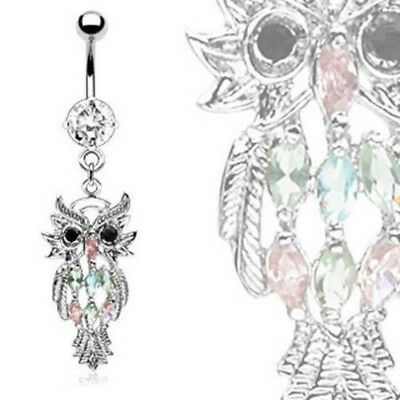 w81 Owl Dangle Multicolor Gem Belly Ring Navel Naval