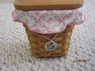 Longaberger  2004 Breast Cancer Basket, Lid, Liner And Protector, And Pin