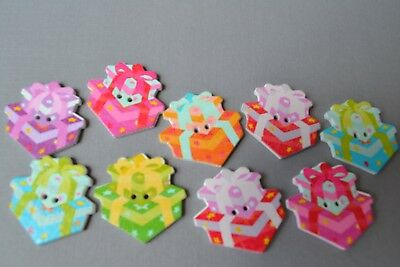 9 Gift Box Present Wooden Buttons Scrapbooking Embellishment Quilt Craft Cute