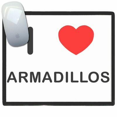 I Love Heart Armadillos - Thin Pictoral Plastic Mouse Pad Mat BadgeBeast