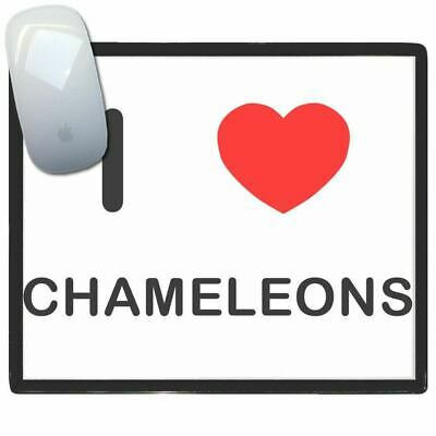 I Love Heart Chameleons - Thin Pictoral Plastic Mouse Pad Mat BadgeBeast
