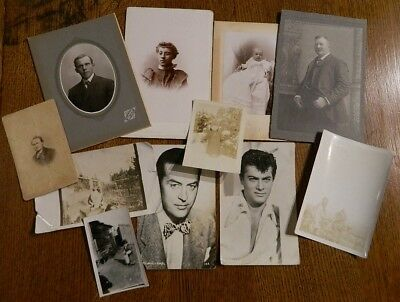 Lot of 11 Old Photos Cabinet Snapshots Postcards Black And White