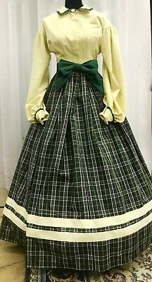 Civil War Party Gown of Green Plaid Taffeta, with a Pongee Bodice
