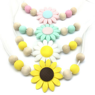 Chewable Sunflower Silicone Pendant Necklace Baby Teething Toy Jewelry Teether