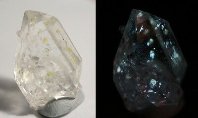 18.6ct Rare Fluorescent Petroleum Enhydro Oil Diamond Quartz Crystal - See Video