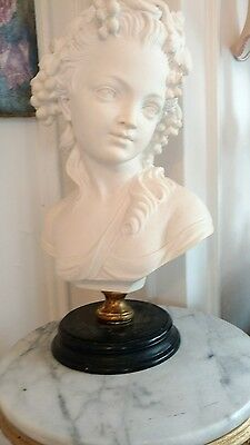 SHABBY ANTIQUE vtg lady statue VICTORIAN STYLE BUST FRENCH STYLE