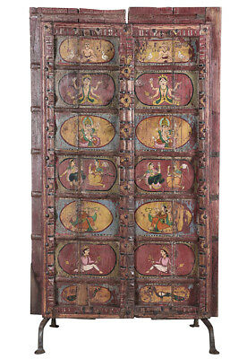 Stunning Carved  Hand Painted Antique Wood  Doors on Iron Stand,44'' x 78''H.