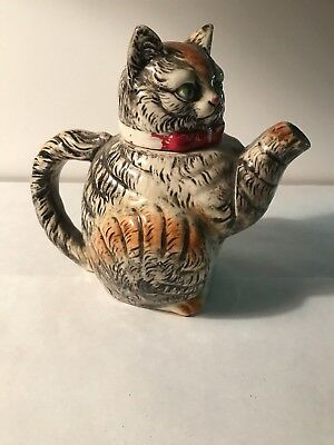 Antique porcelain kitten tea pot made in Japan head is cracked