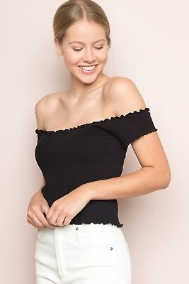 13ae1fe0504b20 brandy melville black crop ribbed off -shoulder Ruffle Trim Anya top sz S