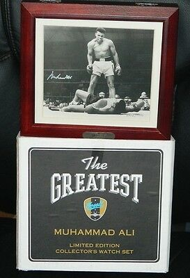 Muhammad Ali Signed Autographed Photo Over Liston Fossil Watch Set With & Box