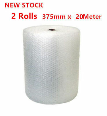 2x Roll Bubble Wrap 375mmx 20Meter White Clear Bubblewrap Packaging Protective