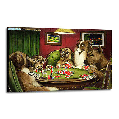 Home Decor Art Quality Canvas Print, Dogs Playing Poker 20x32