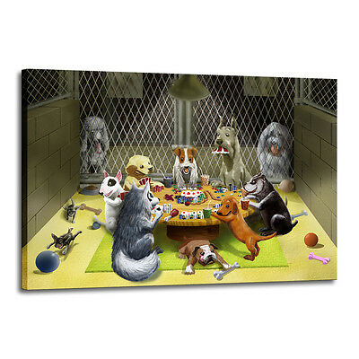 Home Decor Art Quality Canvas Print, Dogs Playing Poker Toy 16x24