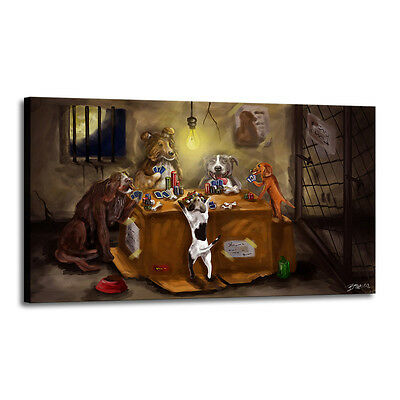 Home Decor Art Quality Canvas Print, Dogs Playing Poker Bone 18x30