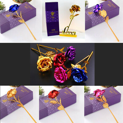 24 K Gold Plated Rose Flower Anniversary Valentines Wife Romantic Birthday Gifts