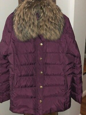 Brooks Brothers Womens Coat/Parka Duck/Down Fur Trimmed Puffer Coat