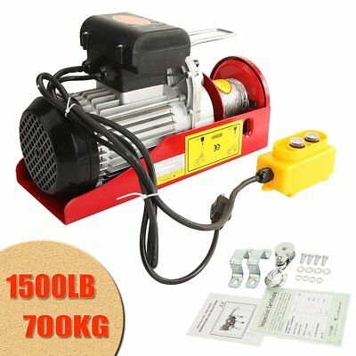 1500 Lb Overhead Electric Hoist Crane Lift Overhead Garage Winch w/ Remote 110V