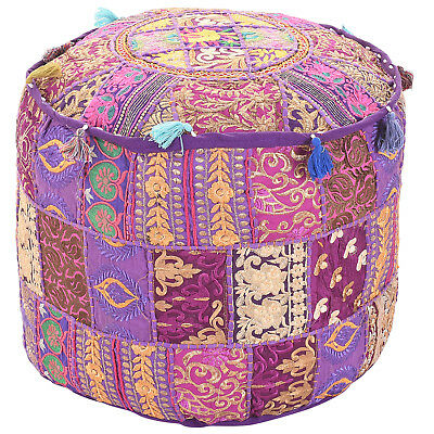 Vintage Footstools Handmade Ottoman Cover Indian Cotton Pouf Cover Pouf Home & Garden