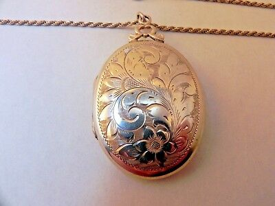 """Vintage Sterling Silver Floral Design Locket Necklace With 18"""" Chain"""