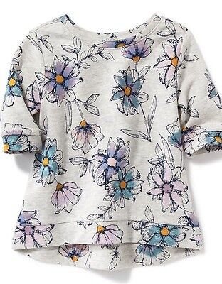 Old Navy Girls 5T Gray Blue Floral French Terry Pullover Shirt Top NWT