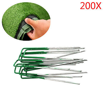 200 x Heavy Duty Anchor Pins Pegs for Weed Mat Turf Pins Pegs Lawn Tent Peg Pins