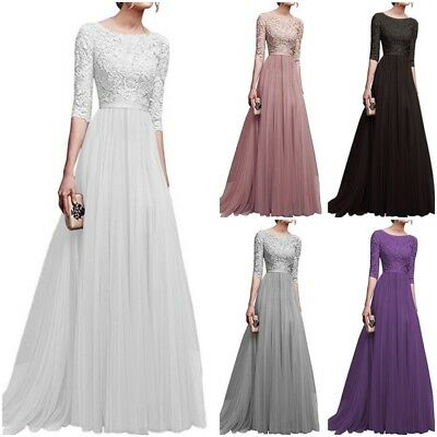 Womens Lace Chiffon Long Evening Formal Party Ball Gown Prom Bridesmaid Dress UK